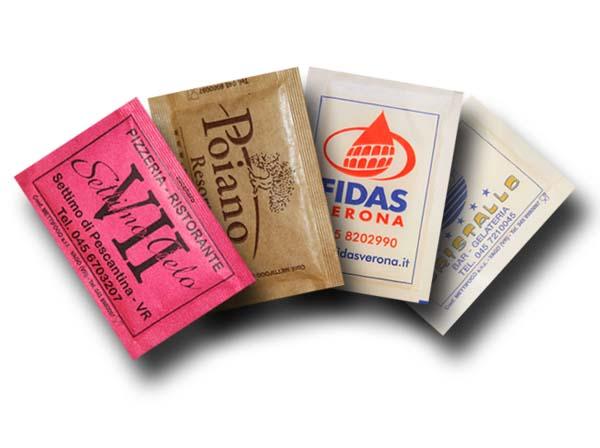 Bustine di Zucchero personalizzato di canna e semolato